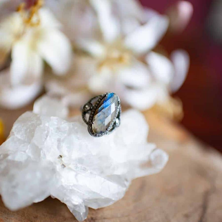 gemstone ring Rock Crystal and flowers