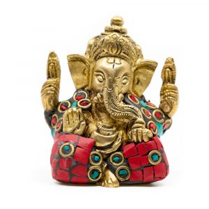Ganesha Statue Brass Painted (5 cm)