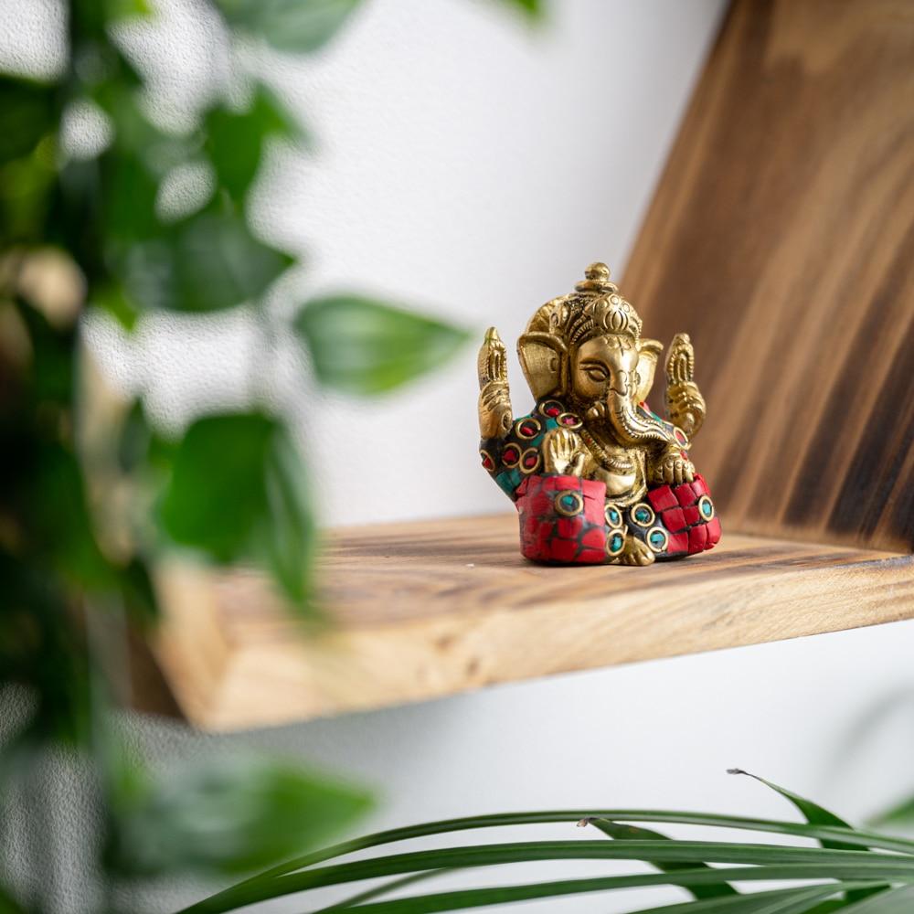 Ganesha statue painted brass (5 cm)