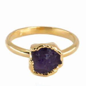 Birthstone Ring Raw Amethyst February - 925 Silver