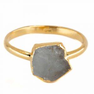 Birthstone Ring Raw Aquamarine March - 925 Silver