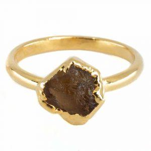 Birthstone Ring Raw Citrine November - 925 Silver