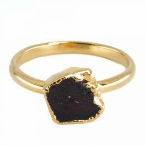 Birthstone Ring Raw Garnet January - 925 Silver