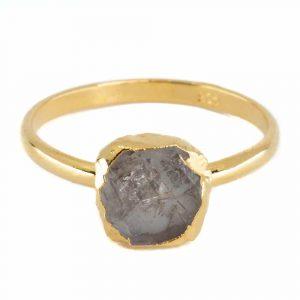 Birthstone Ring Raw Herkimer Diamond April - 925 Silver