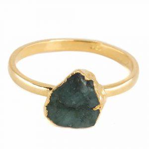 Birthstone Ring Raw Emerald May - 925 Silver