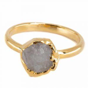 Birthstone Ring Raw Moonstone June - 925 Silver