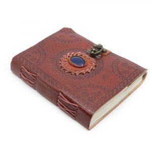 Handmade Leather Notebook with Lapis Lazuli (17.5 x 13 cm)