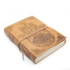 Handmade Leather Notebook with Hamsa Hand (17.5 x 13 cm)