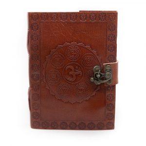 Handmade Leather Notebook OHM Chakras (17.5 x 13 cm)