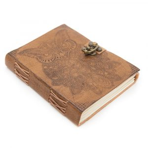 Handmade Leather Notebook with Owl (17.5 x 13 cm)