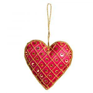 Pendant Ornament Traditional Heart Bright Red (17 cm)