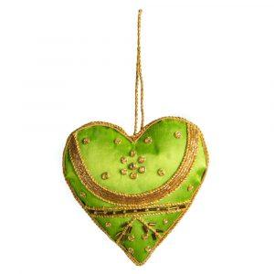 Pendant Ornament Traditional Heart Green (16 cm)