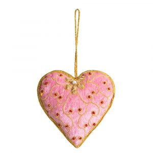 Pendant Ornament Traditional Heart Pink (17 cm)