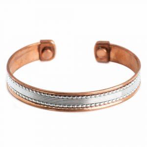 """Copper Magnet Bracelet """"Silver Grid"""" Alternative"""