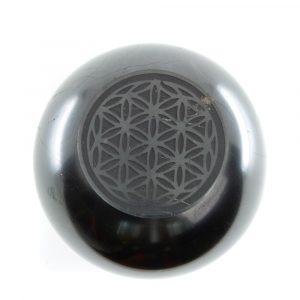 Shungite Gemstone Sphere Flower of Life Engraved (50 mm)