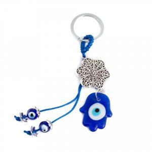 Key Chain Protection Evil Eye Hamsa Hand with Flower
