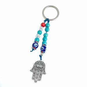 Key Chain Protecting Hamsa Hand with Evil Eye Beads