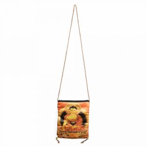 Cotton Bag with Buddha and Zipper (21 x 17 cm)