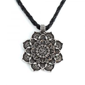 Tibetan Mandala OHM Pendant - Silver Colored (40 mm)