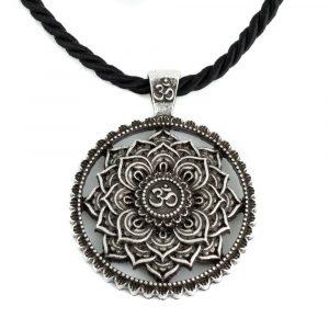 Tibetan Mandala OHM Necklace - Silver Colored (40 mm)