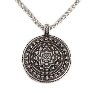 Tibetan Talisman OHM Round - Silver (35 mm)