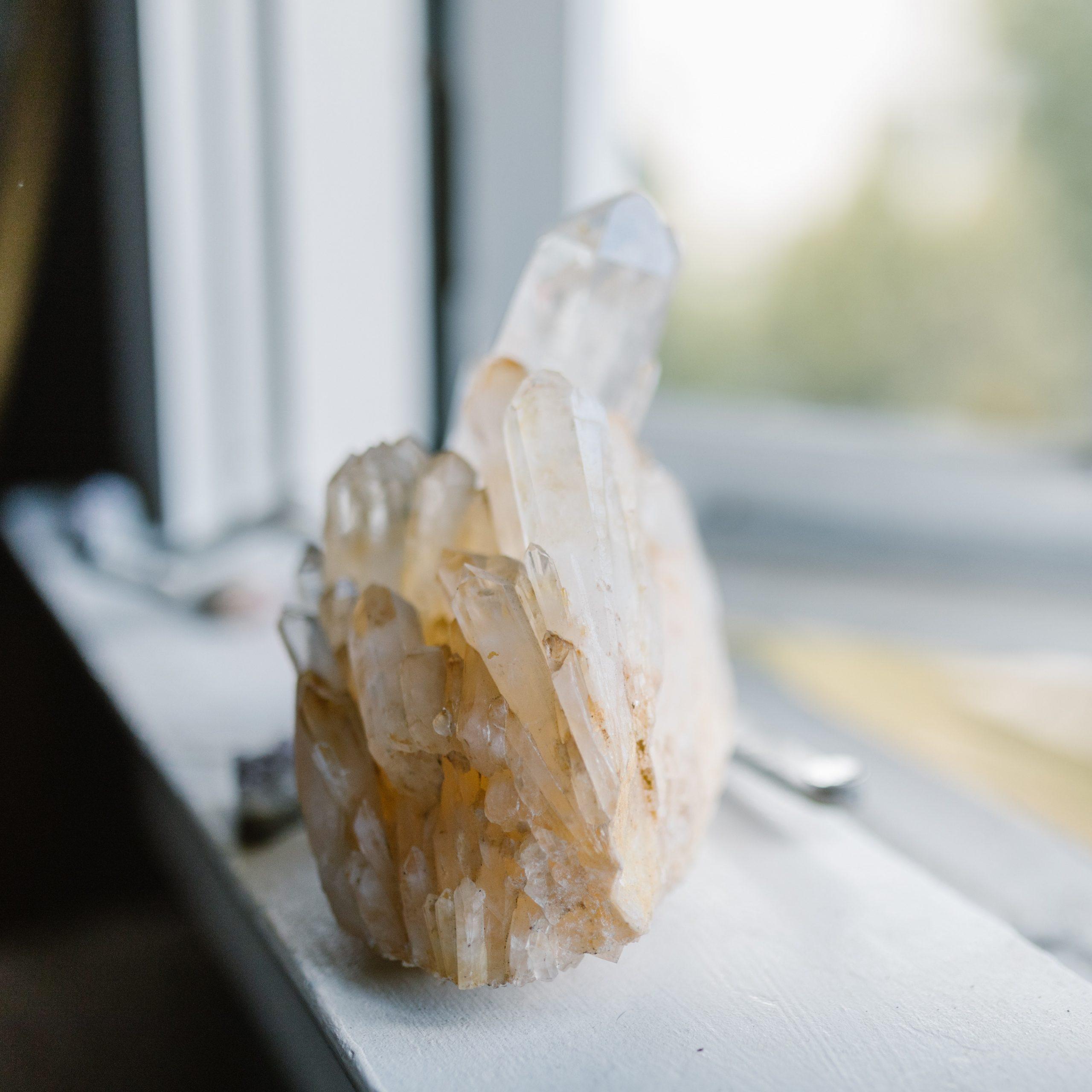 large crystal on windowsill