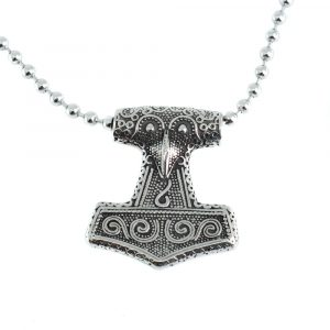 Viking Pendant Thor's Hammer with Crow