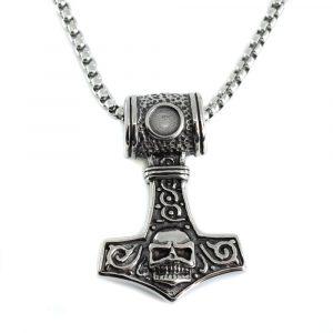 Viking Pendant Thor's Hammer with Skull