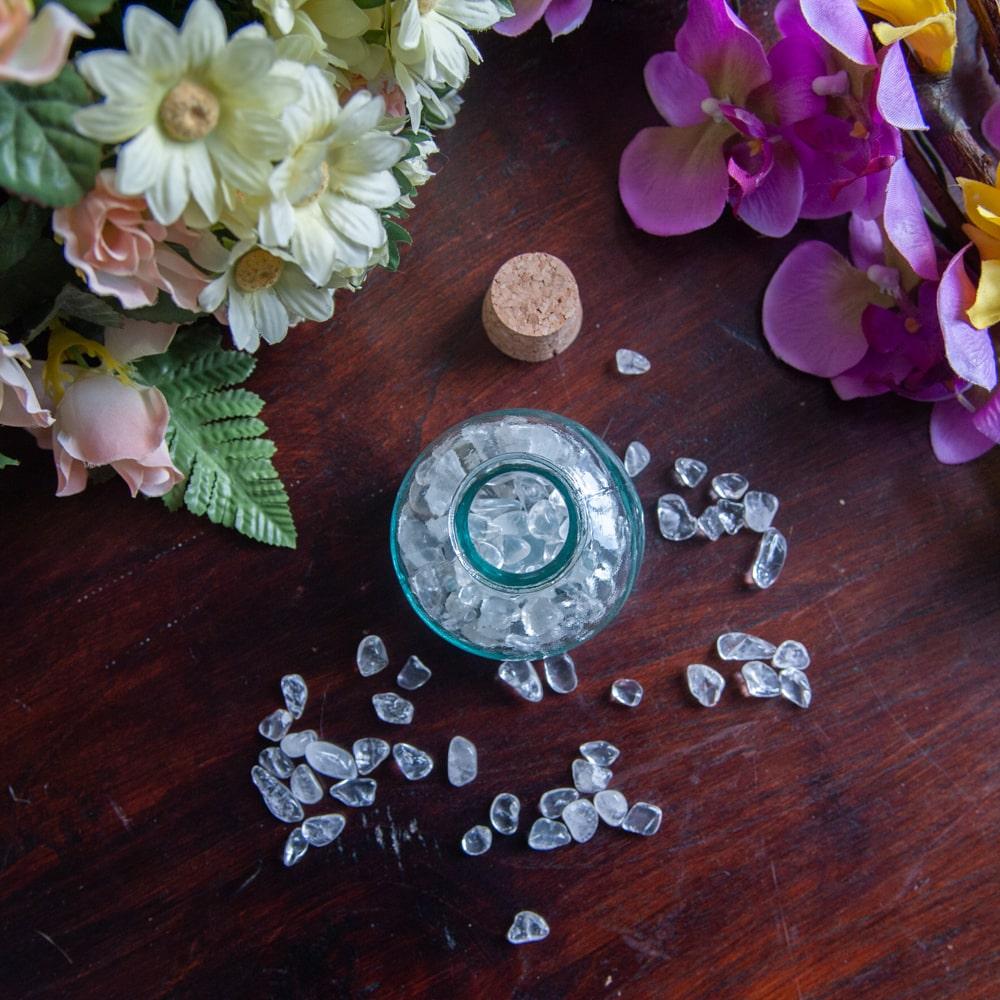 tumbled polished gemstones bottle