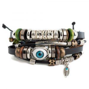Bracelet Bohemian Evil Eye with Feather
