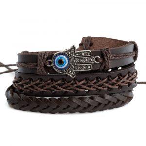 Bracelet Bohemian Artificial Leather Hamsa Hand