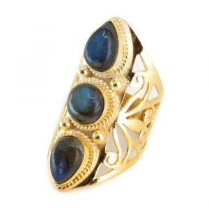 "Gemstone Ring Labradorite 925 Silver- Gold Plated ""Faehsida"" (Size 17)"