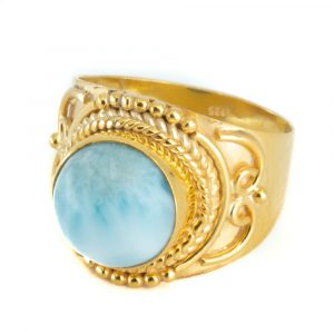"Gemstone Ring Larimar 925 Silver - Gold Plated ""Jesahna"" (Size 17)"