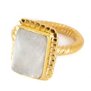 "Gemstone Ring Rainbow Moonstone 925 Silver - Gold Plated ""Kasasha"" (Size 17)"