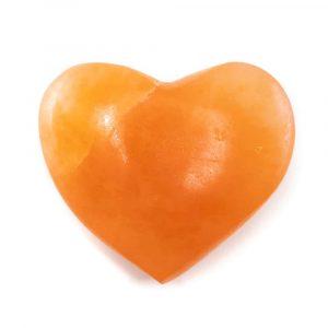 Worry Stone Heart Selenite Orange 50 mm