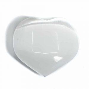 Heart Worry Stone Selenite White 50 mm