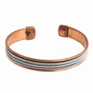 """Copper Magnet Bracelet """"Silver Grid"""""""