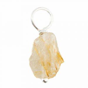 Raw Gemstone Pendant Gold Rutile Quartz 925 Silver (8 - 12 mm)