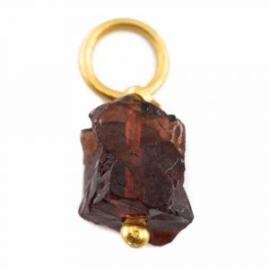 Raw Gemstone Pendant Garnet 925 Silver and Gold Plated (8 - 12 mm)
