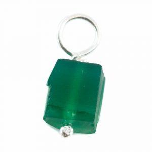 Raw Gemstone Pendant Green Onyx 925 Silver (8 - 12 mm)