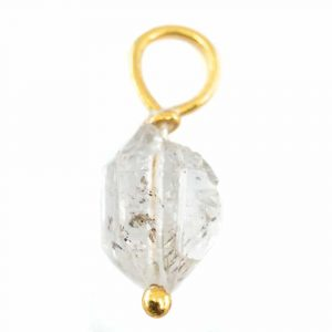 Raw Gemstone Pendant Herkimer Diamond 925 Silver and Gold Plated (8 - 12 mm)