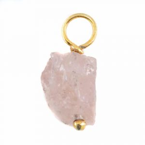 Raw Gemstone Pendant Morganite 925 Silver and Gold Plated (8 - 12 mm)