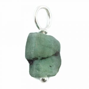Raw Gemstone Pendant Emerald 925 Silver (8 - 12 mm)