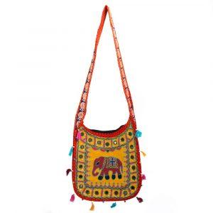 Cotton Bag Colorful Indian Elephant Surprise (35 x 32 cm)