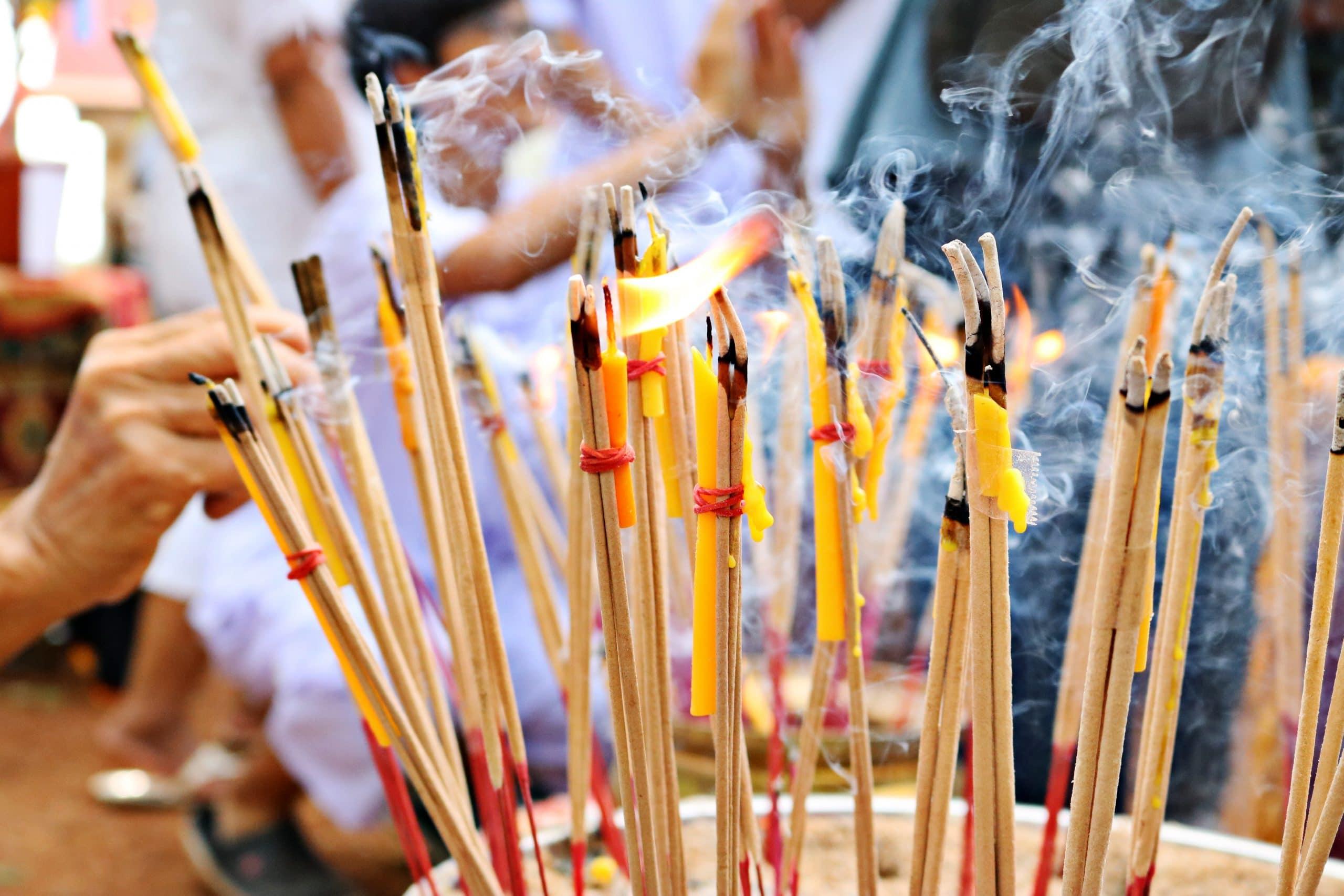 traditional incense sticks burning