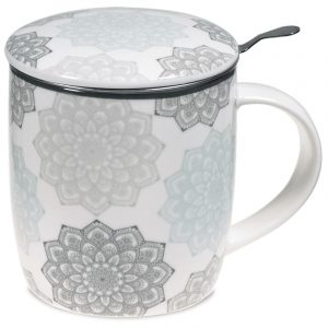 Tea Mug Set Mandala Grey