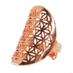 Adjustable Ring Flower of Life Pink Gold (30 mm)