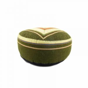 Yogi and Yogini Meditation Cushion Round Cotton Green - Patterned Cream - 33 x 17 cm