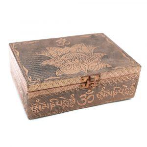 Tarot or Jewelry Box Lotus/ OHM Bronze (17.5 cm)