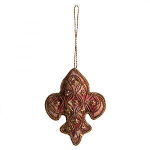 Hanger Ornament Traditioneel Fleur de Lis Bloemetjes Rood (18 cm)